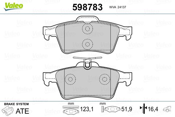 Kit de plaquettes de frein, frein à disque VALEO 598783 (Jeu de 4)
