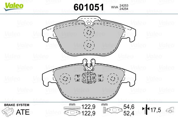 Kit de plaquettes de frein, frein à disque VALEO 601051 (Jeu de 4)