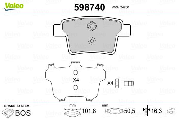 Kit de plaquettes de frein, frein à disque VALEO 598740 (Jeu de 4)