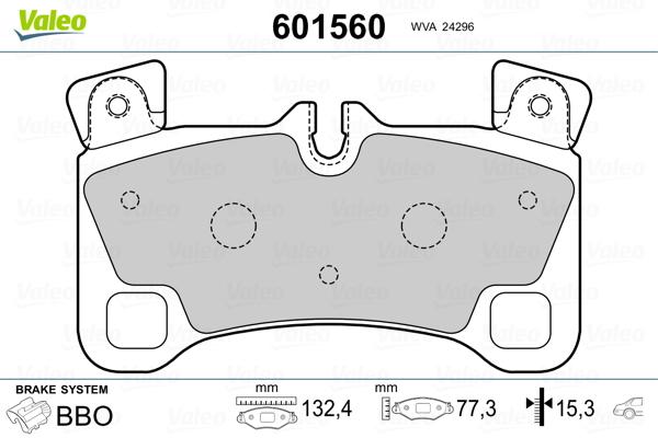Plaquettes de frein arriere VALEO 601560 (Jeu de 4)