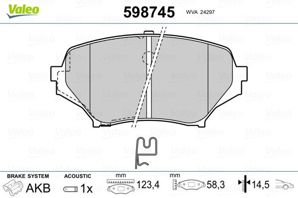 Plaquettes de frein avant VALEO 598745 (Jeu de 4)