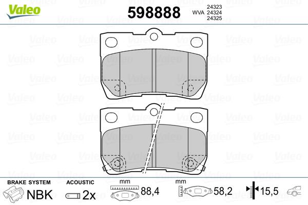 Kit de plaquettes de frein, frein à disque VALEO 598888 (Jeu de 4)
