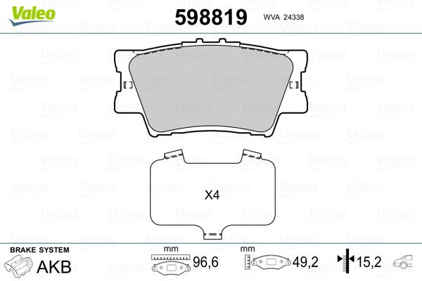 Kit de plaquettes de frein, frein à disque VALEO 598819 (Jeu de 4)