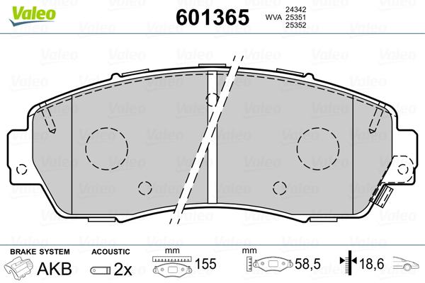 Plaquettes de frein avant VALEO 601365 (Jeu de 4)