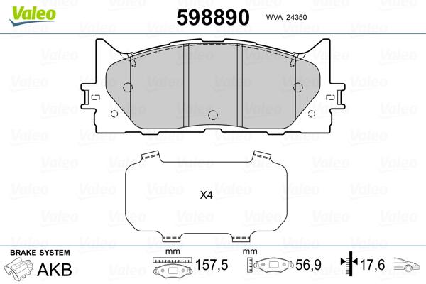 Plaquettes de frein avant VALEO 598890 (Jeu de 4)