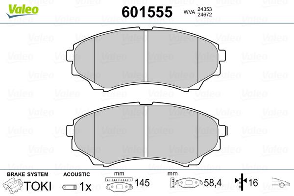 Plaquettes de frein avant VALEO 601555 (Jeu de 4)
