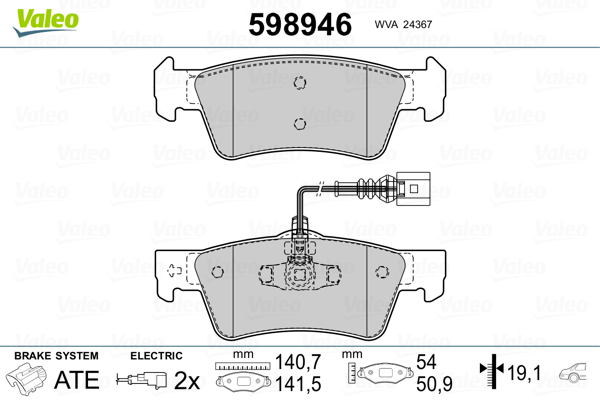 Plaquettes de frein arriere VALEO 598946 (Jeu de 4)