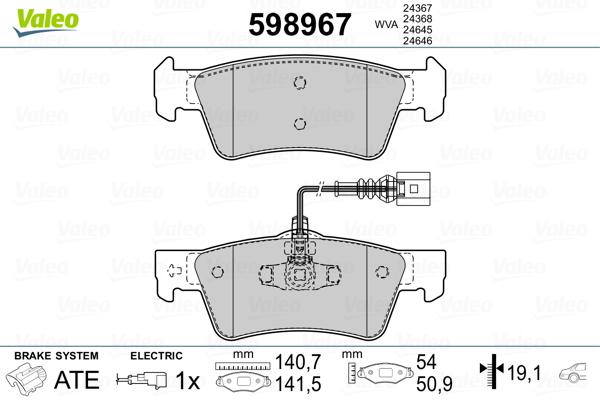 Plaquettes de frein arriere VALEO 598967 (Jeu de 4)