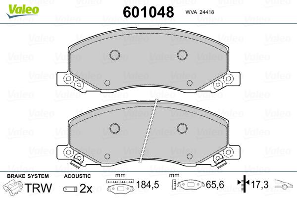 Plaquettes de frein avant VALEO 601048 (Jeu de 4)