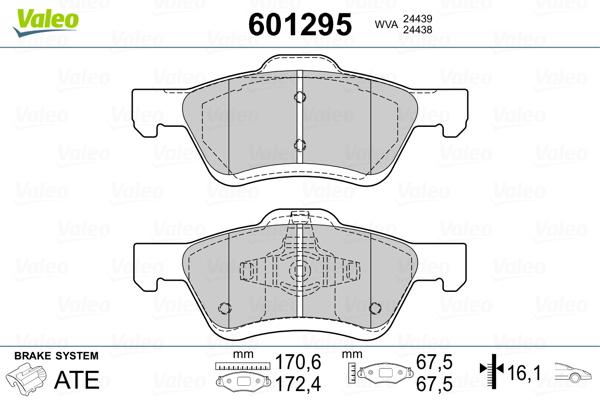 Plaquettes de frein avant VALEO 601295 (Jeu de 4)