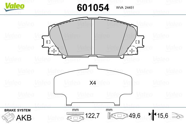 Plaquettes de frein avant VALEO 601054 (Jeu de 4)
