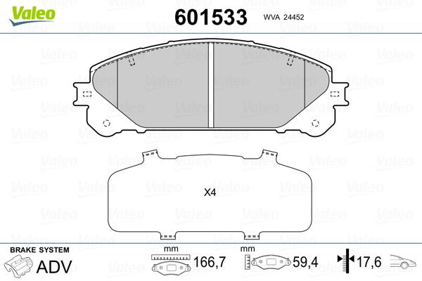 Plaquettes de frein avant VALEO 601533 (Jeu de 4)