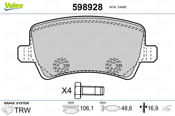 Kit de plaquettes de frein, frein à disque VALEO 598928 (Jeu de 4)