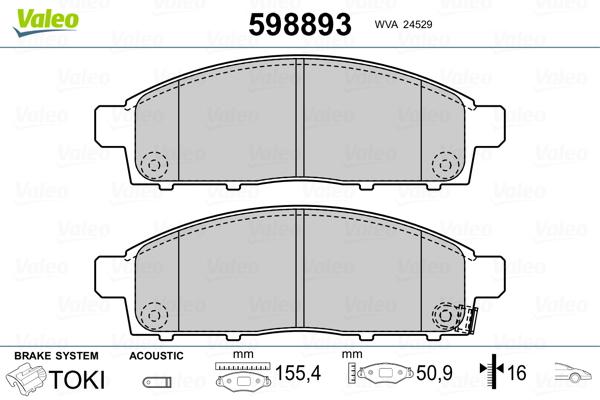 Plaquettes de frein avant VALEO 598893 (Jeu de 4)
