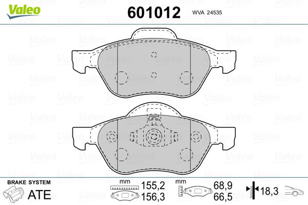 Plaquettes de frein VALEO 601012 (Jeu de 4)
