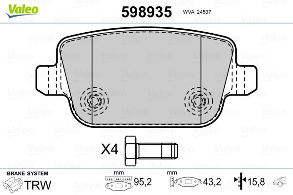 Kit de plaquettes de frein, frein à disque VALEO 598935 (Jeu de 4)