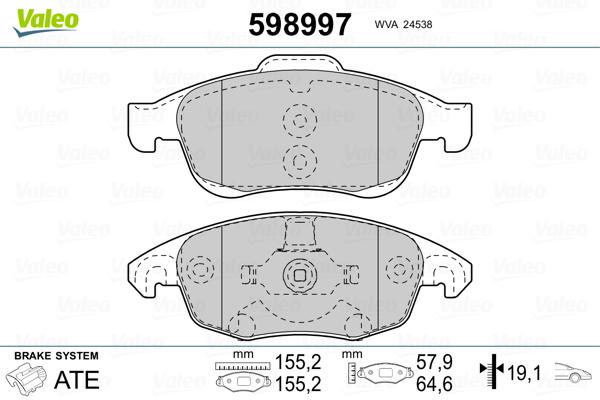 Plaquettes de frein avant VALEO 598997 (Jeu de 4)