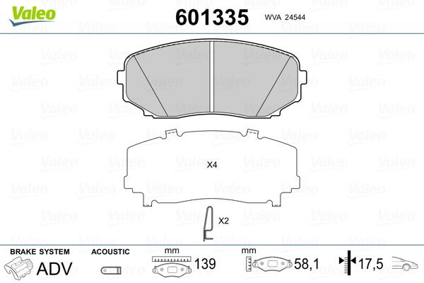 Plaquettes de frein avant VALEO 601335 (Jeu de 4)