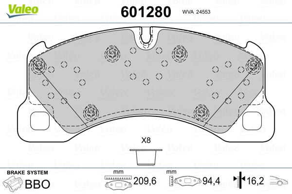 Plaquettes de frein avant VALEO 601280 (Jeu de 4)