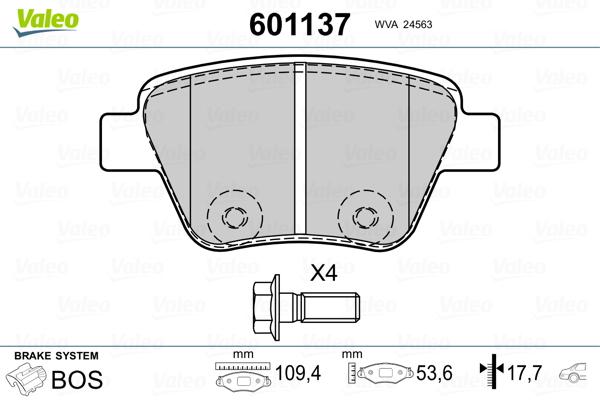 Plaquettes de frein arriere VALEO 601137 (Jeu de 4)