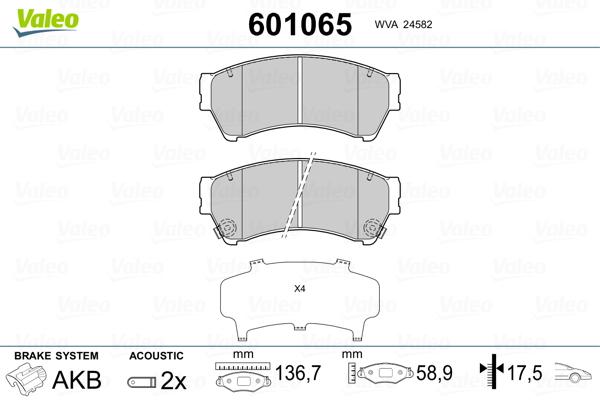 Plaquettes de frein avant VALEO 601065 (Jeu de 4)