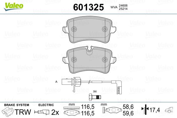 Plaquettes de frein arriere VALEO 601325 (Jeu de 4)