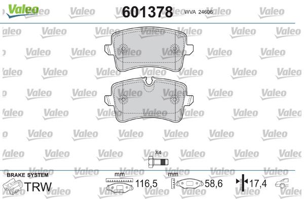 Plaquettes de frein arriere VALEO 601378 (Jeu de 4)