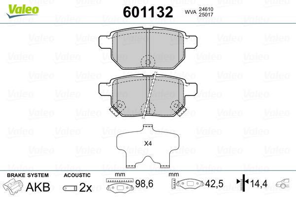 Kit de plaquettes de frein, frein à disque VALEO 601132 (Jeu de 4)