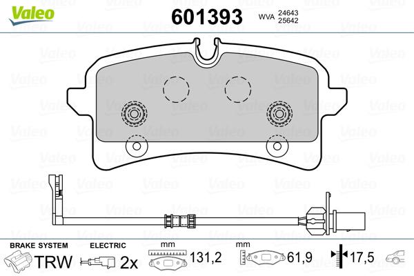 Plaquettes de frein arriere VALEO 601393 (Jeu de 4)