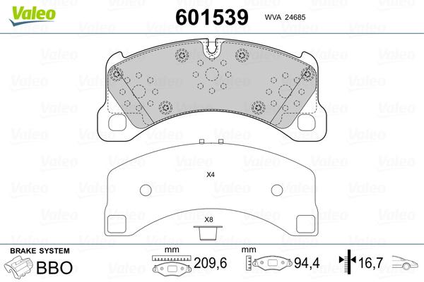 Plaquettes de frein avant VALEO 601539 (Jeu de 4)