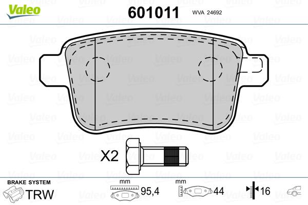 Kit de plaquettes de frein, frein à disque VALEO 601011 (Jeu de 4)
