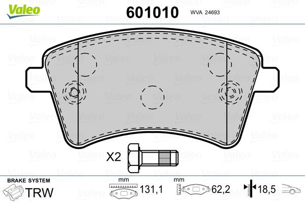 Kit de plaquettes de frein, frein à disque VALEO 601010 (Jeu de 4)