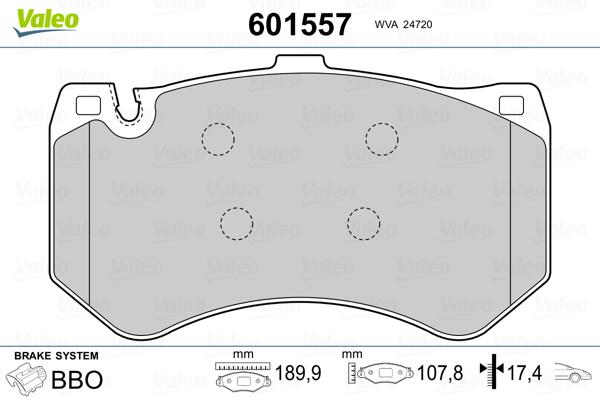 Kit de plaquettes de frein, frein à disque VALEO 601557 (Jeu de 4)