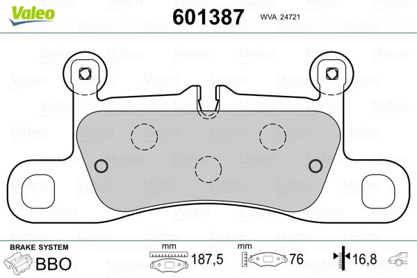 Plaquettes de frein VALEO 601387 (Jeu de 4)