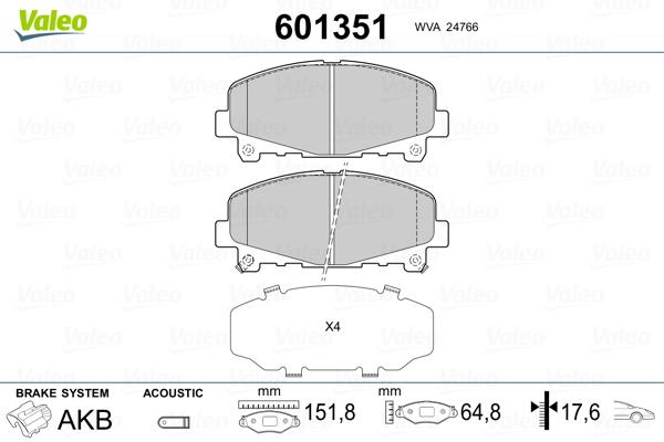 Plaquettes de frein avant VALEO 601351 (Jeu de 4)