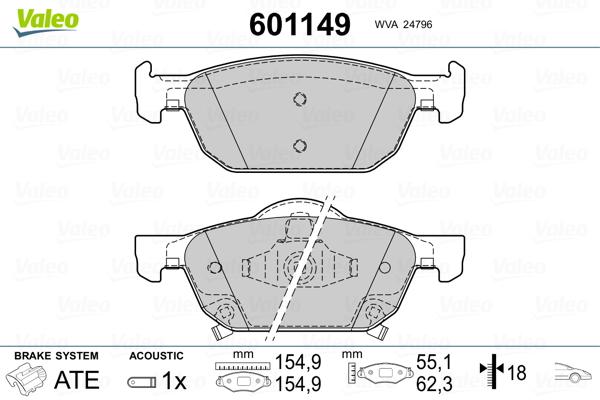 Plaquettes de frein avant VALEO 601149 (Jeu de 4)