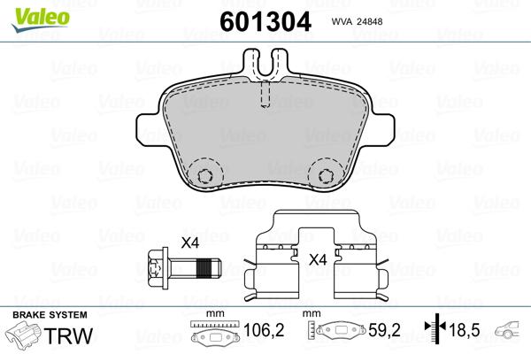 Kit de plaquettes de frein, frein à disque VALEO 601304 (Jeu de 4)