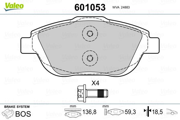 Plaquettes de frein avant VALEO 601053 (Jeu de 4)