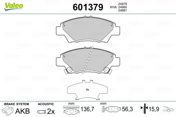 Plaquettes de frein avant VALEO 601379 (Jeu de 4)