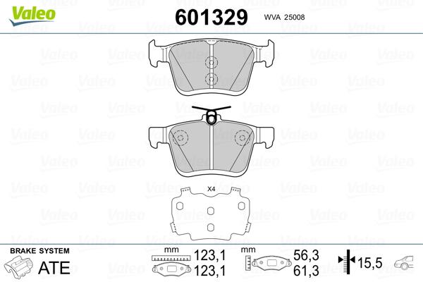 Plaquettes de frein VALEO 601329 (Jeu de 4)