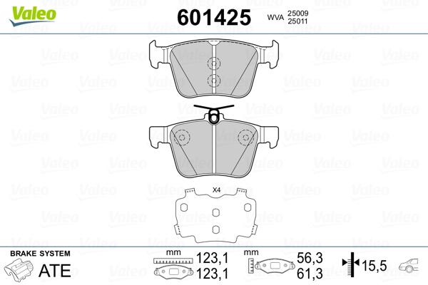 Plaquettes de frein arriere VALEO 601425 (Jeu de 4)
