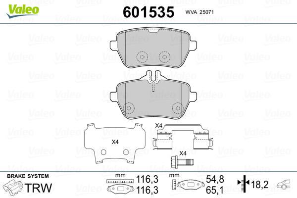 Kit de plaquettes de frein, frein à disque VALEO 601535 (Jeu de 4)