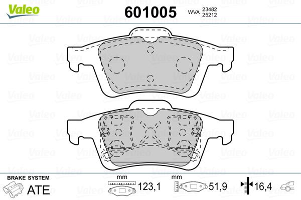 Kit de plaquettes de frein, frein à disque VALEO 601005 (Jeu de 4)