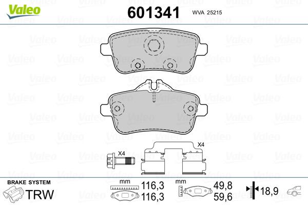 Kit de plaquettes de frein, frein à disque VALEO 601341 (Jeu de 4)