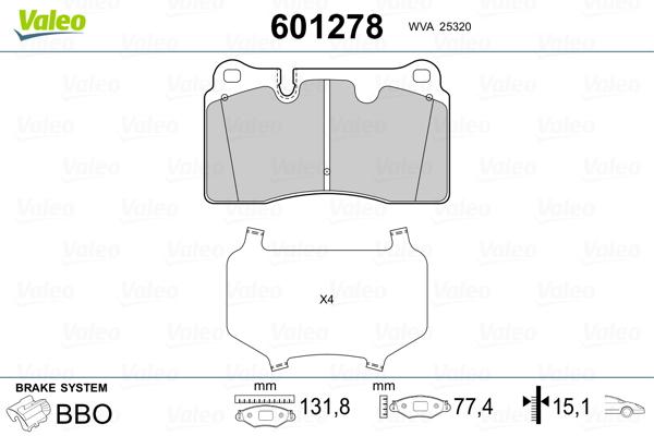 Plaquettes de frein avant VALEO 601278 (Jeu de 4)