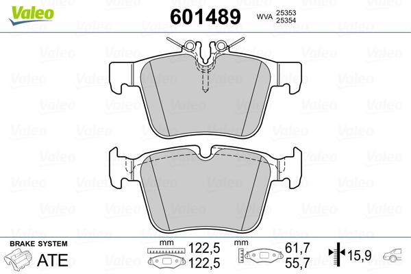 Kit de plaquettes de frein, frein à disque VALEO 601489 (Jeu de 4)