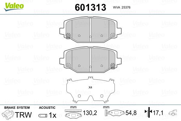Plaquettes de frein arriere VALEO 601313 (Jeu de 4)