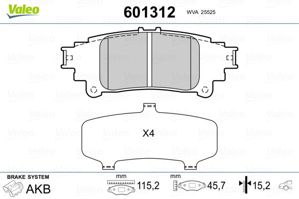 Kit de plaquettes de frein, frein à disque VALEO 601312 (Jeu de 4)