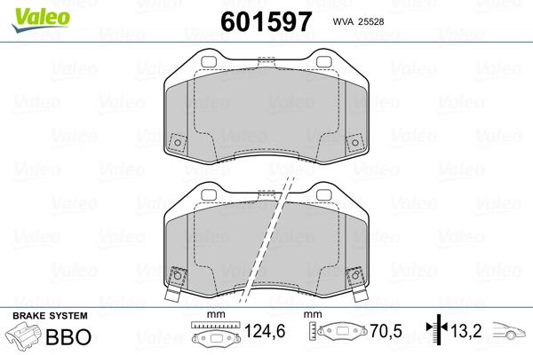 Plaquettes de frein avant VALEO 601597 (Jeu de 4)
