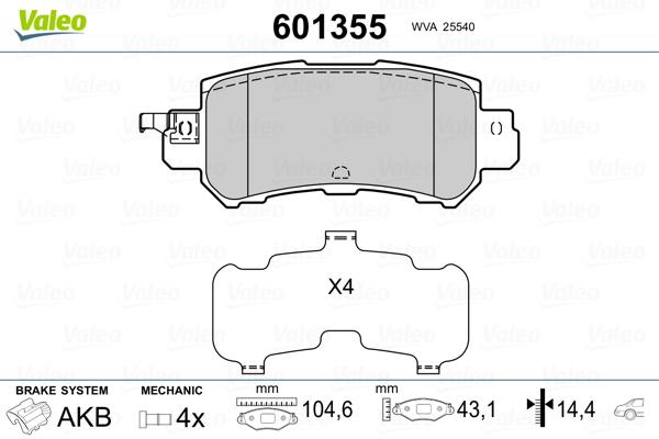 Kit de plaquettes de frein, frein à disque VALEO 601355 (Jeu de 4)